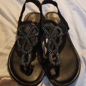 Black jeweled sandals